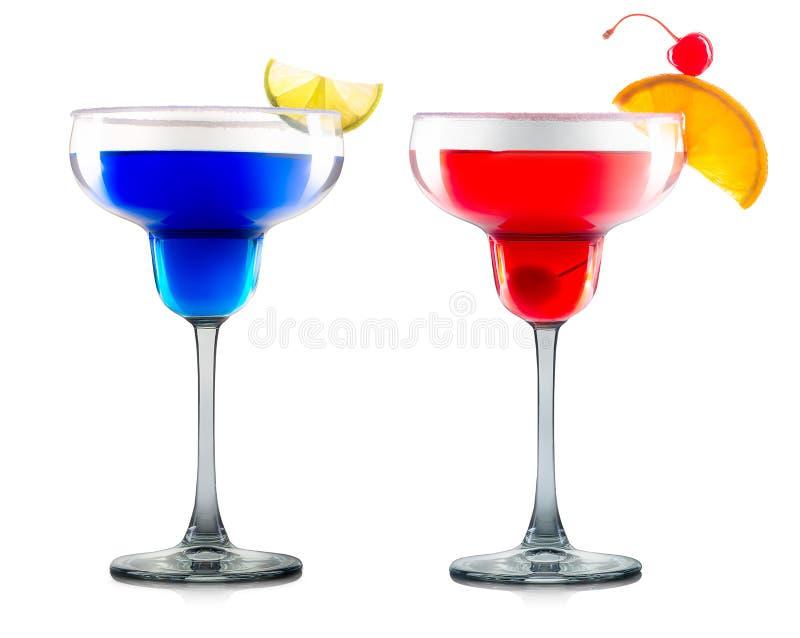 Set cocktails or mocktails in margarita glass stock photos