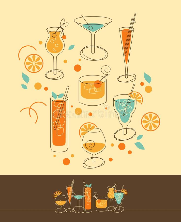 Download Cocktail Set stock vector. Image of aperitif, group, blue - 29790637