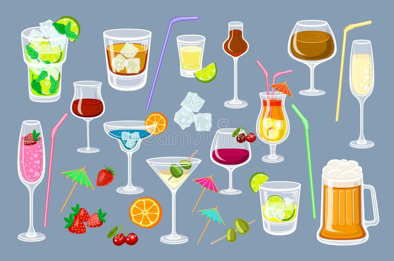 Set of coctails. classic Alcoholic drinks isolated on grey background glass of champagne, margarita, brandy, whiskey with ice, vector illustration