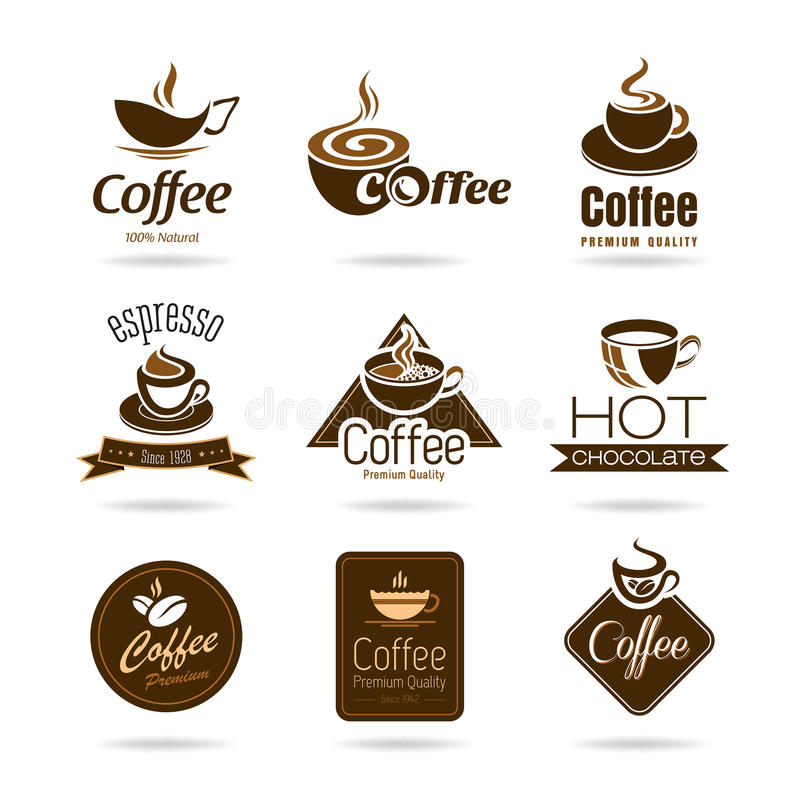Set of coffee badges and icon stock illustration