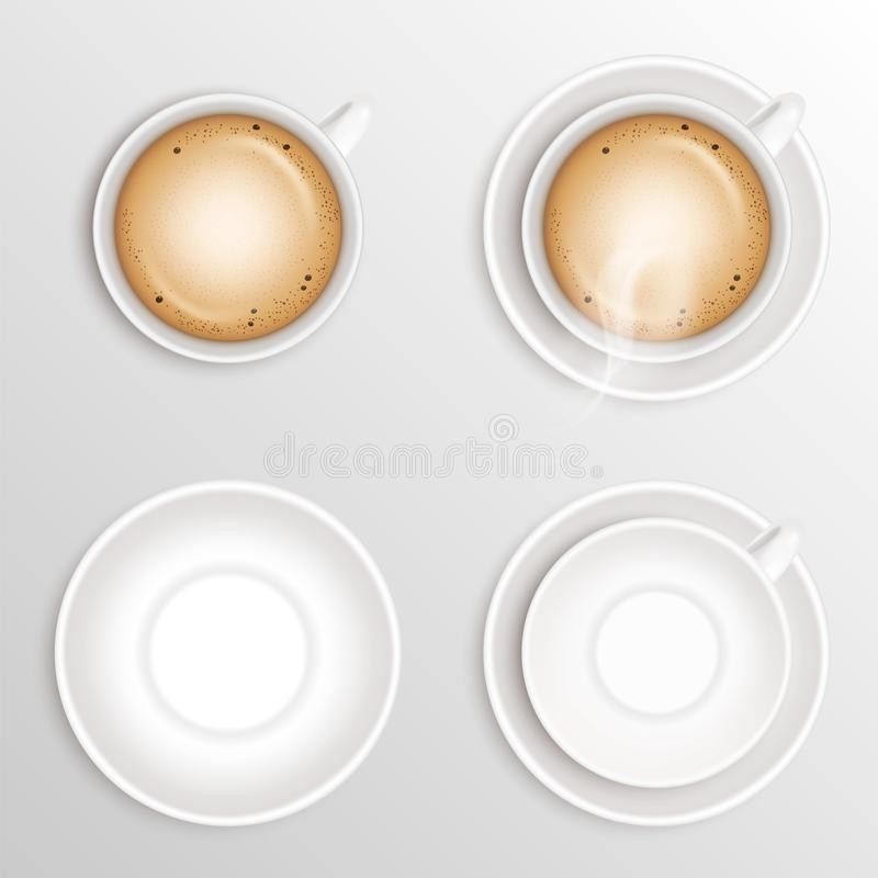 Set of coffee Beverage cappuccino, white ceramic cup or mug and empty round saucer isolated on light brown or craem background. Re vector illustration