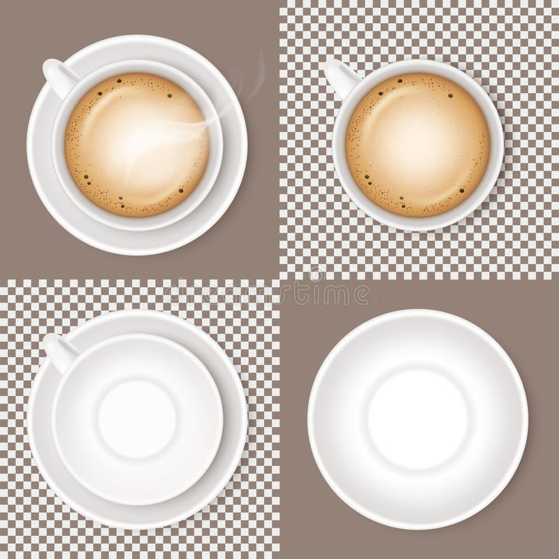 Set of coffee Beverage cappuccino, white ceramic cup or mug and empty round saucer isolated on transparent and light or craem back royalty free illustration