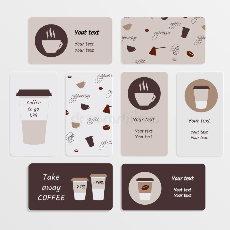 Set coffee business card stock vector. Illustration of cream ...