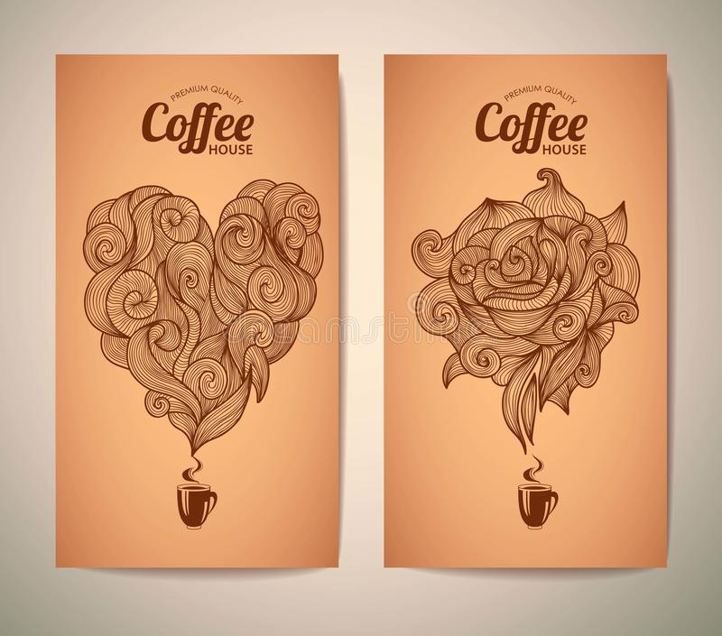 Set of coffee concept design stock illustration