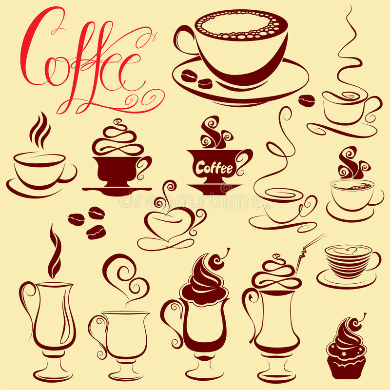 Set of coffee cups icons, stylized sketch symbols vector illustration
