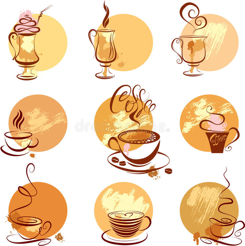 Set of coffee cups icons, stylized sketch symbols stock illustration