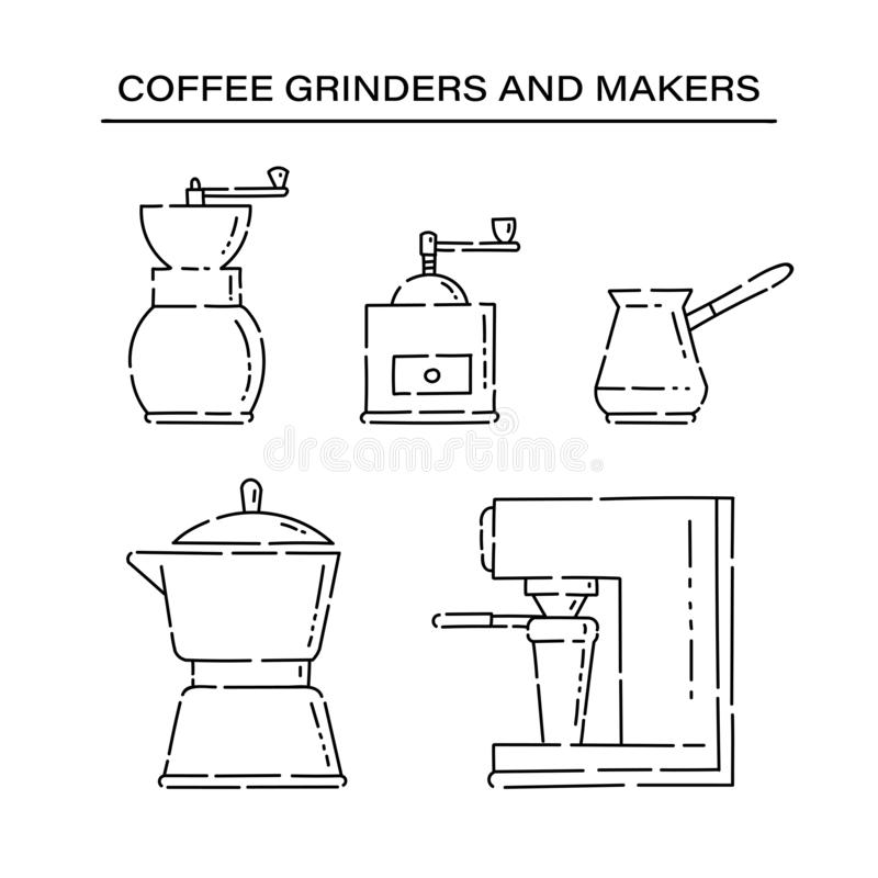 Set coffee grinder maker appliances for the kitchen line art vector black white isolated illustration. royalty free illustration