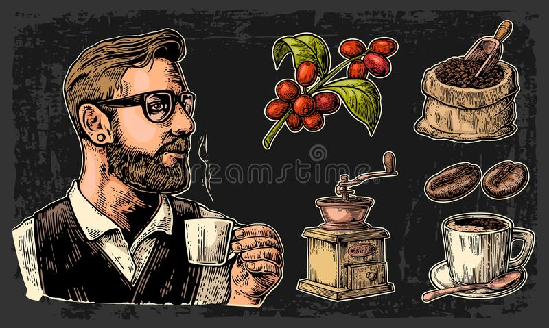 Set coffee. Hipster barista holding a cup, sack with wooden scoop and beans, cup, branch with leaf and berry. stock illustration