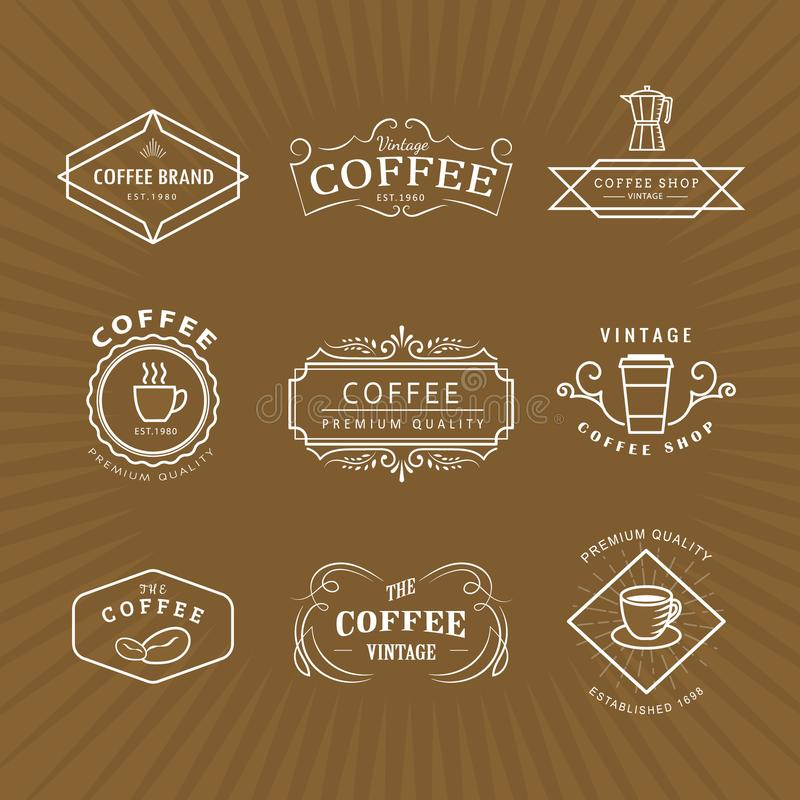 Set coffee logo vintage label blackboard retro vector. Design template vector illustration