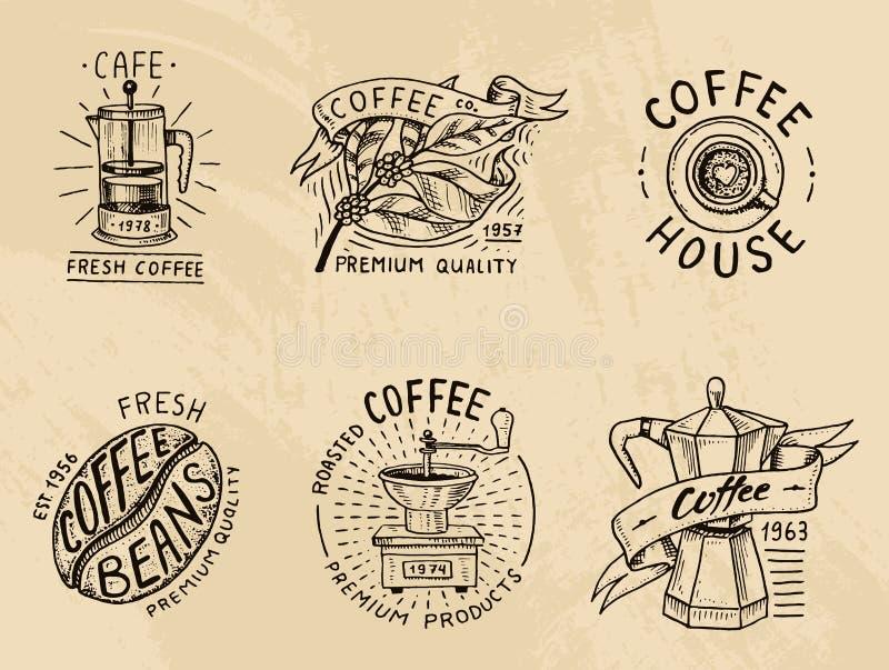 Set of coffee logos. modern vintage elements for the shop menu. Vector illustration. design decoration collection for vector illustration