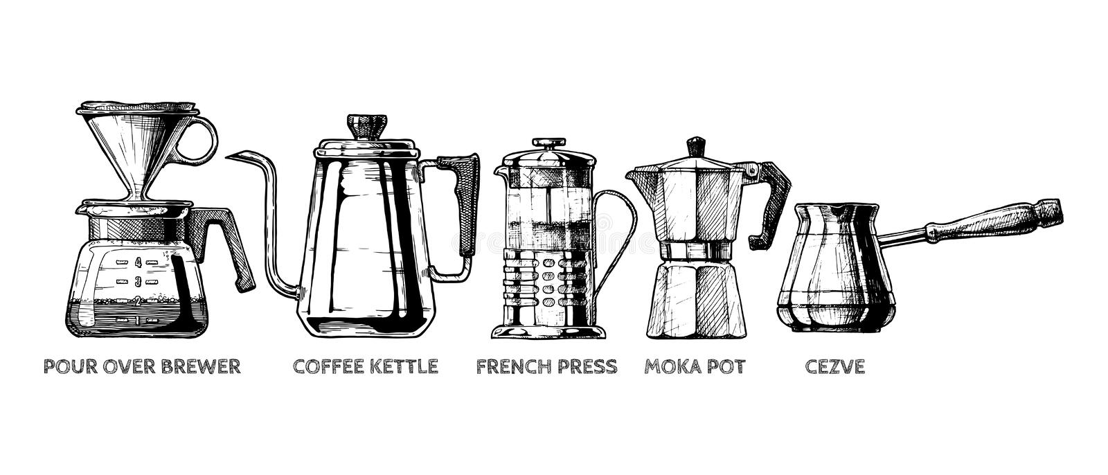 Set of Coffee preparation. Vector hand drawn illustration set of coffee preparation. Pour over brewer, coffee kettle, french press, moka pot and cezve stock illustration
