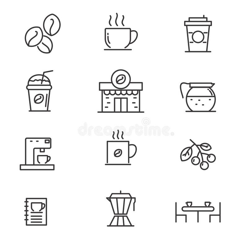 Set of coffee related vector illustration with simple line design. Such s coffee, cup,  coffee machine and others, suitable for icon or logo royalty free illustration
