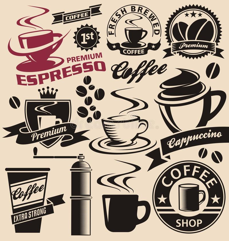Set of coffee symbols and icons. Coffee symbols and signs collection. Vector set of coffee design elements and icons. Vintage labels and badges with coffee cups