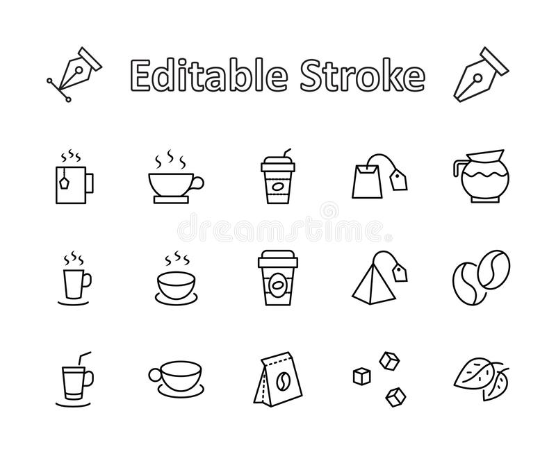 Set of Coffee and Tea Vector Line Icons. Contains such Icons as Cup of Tea, Teabags, Coffee beans and Green Tea Leave stock images