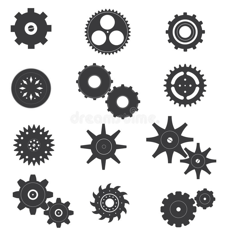 Set of Cog and Machine Vector and Icon stock photography