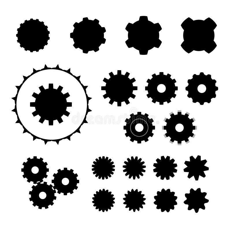 Set of cog wheels. Set of cog wheel shape variations stock illustration