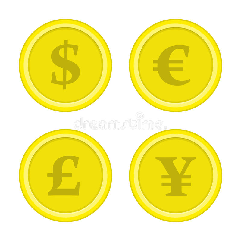 Set of coins dollar euro yen. vector illustration