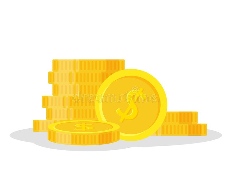 Set coins stack vector illustration, icon flat finance heap, dollar coin pile. Golden money standing on stacked, gold royalty free illustration