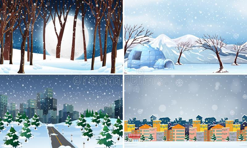 Set of cold winter background. Illustration stock illustration