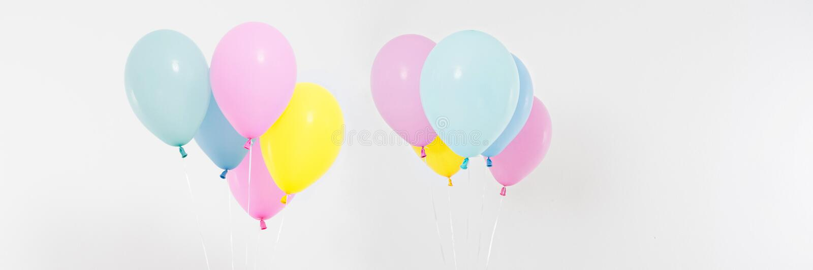 Set,collage coloured balloons background. Celebration, holidays, summer concept. Design template, billboard or banner blank. Top view, copy space royalty free stock images