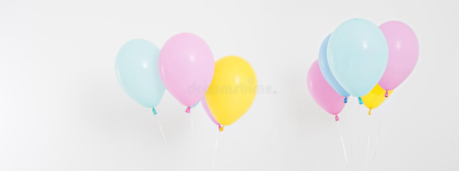 Set,collage coloured balloons background. Celebration, holidays, summer concept. Design template, billboard or banner blank royalty free stock images