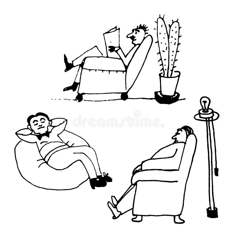 Set collection art men sitting in a chair, comic illustration stock illustration