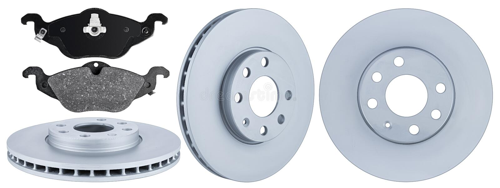 Set collection of automotive car parts brake steel disc and pad isolated white background. Set collection of automotive car parts brake steel disc and pad stock photos