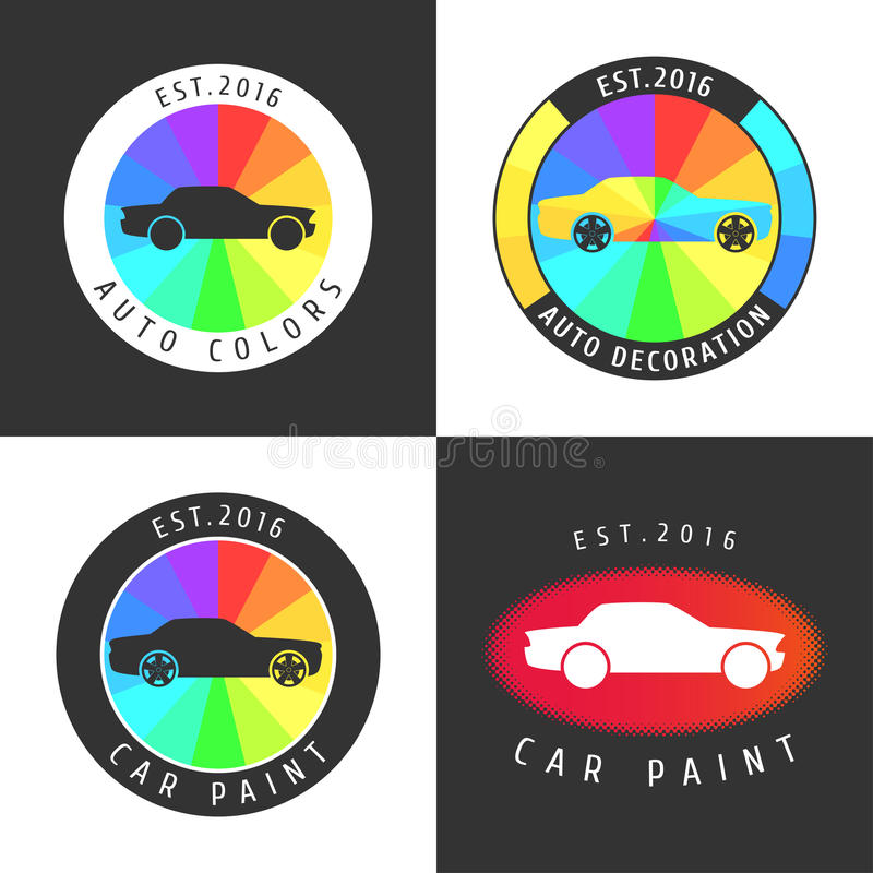 Set, collection of car paint, car parts vector icon, symbol, sign, logo vector illustration