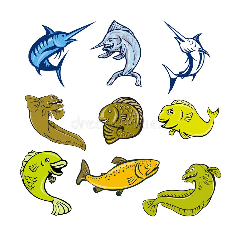 Marine Life Animals Cartoon Set. Set or collection of cartoon character mascot style illustration of marine life and fish like the blue marlin, swordfish, eel stock illustration