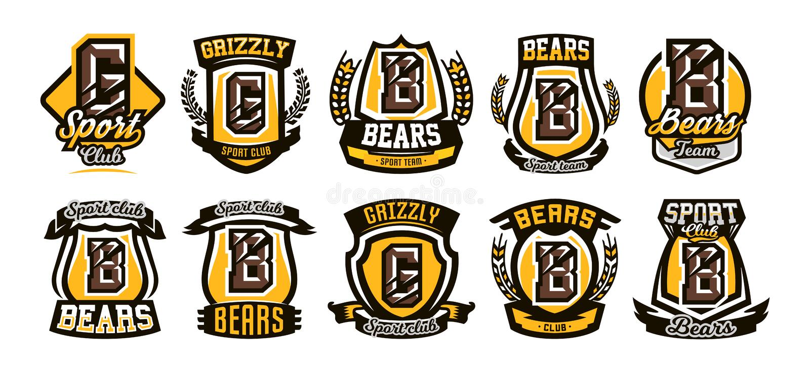 Set, collection of colorful logos, emblems, letter the scratched claw angry bear, grizzly. Vector illustration, dynamic vector illustration