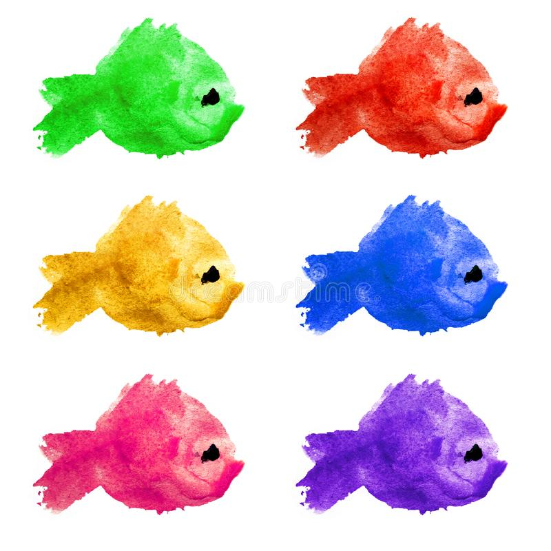 Set collection of colorful watercolor piranha fishes made in the form of blots, stains on a white background isolated. Children`s vector illustration