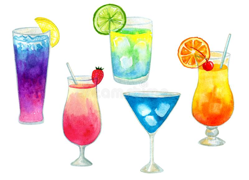 Set or collection of different colorful summer bright cocktails with fruits. Hand drawn watercolor illustration stock photos