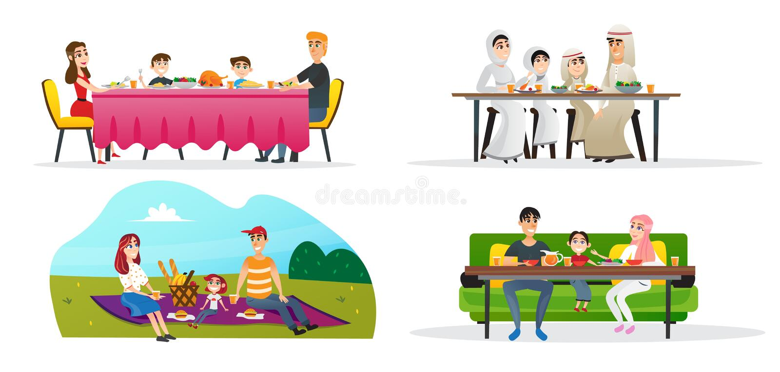 Set Collection Family Lunch in Different Cultures. Family Values Different Cultures. Arabic Family in Traditional Dress Sitting at Dinner Table. European Dad stock illustration