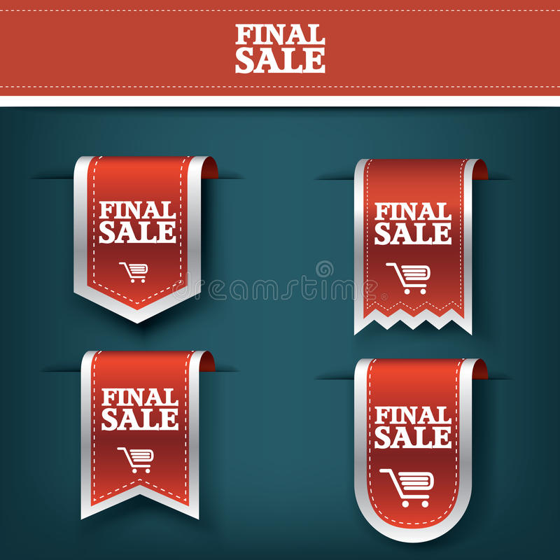 Set, collection of Final sale red ribbon vector tag icon for product promotion and shopping. Bookmark 3d design. With realistic shadows. Eps10 vector vector illustration