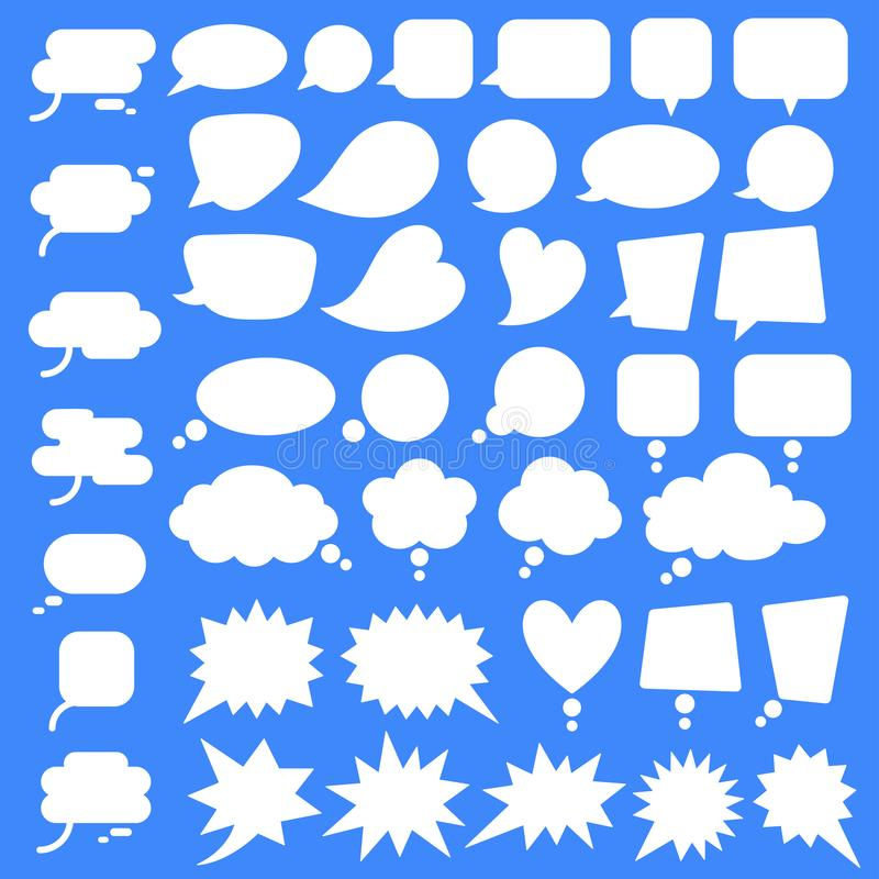 Set, collection of flat style vector speech bubbles, clouds, baloons. Talking, speaking, chatting, screaming, laughing, thinking, dreaming bubbles. Modern stock illustration