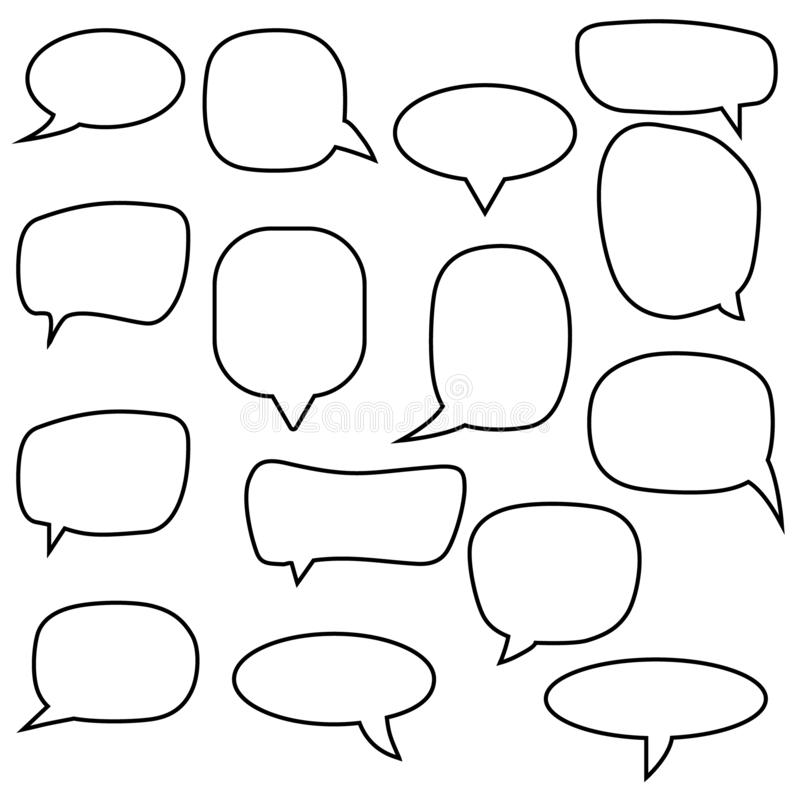 Set, collection of flat style vector speech bubbles, clouds, baloons. Talking,  speaking, chatting, screaming, laughing, thinking, royalty free illustration