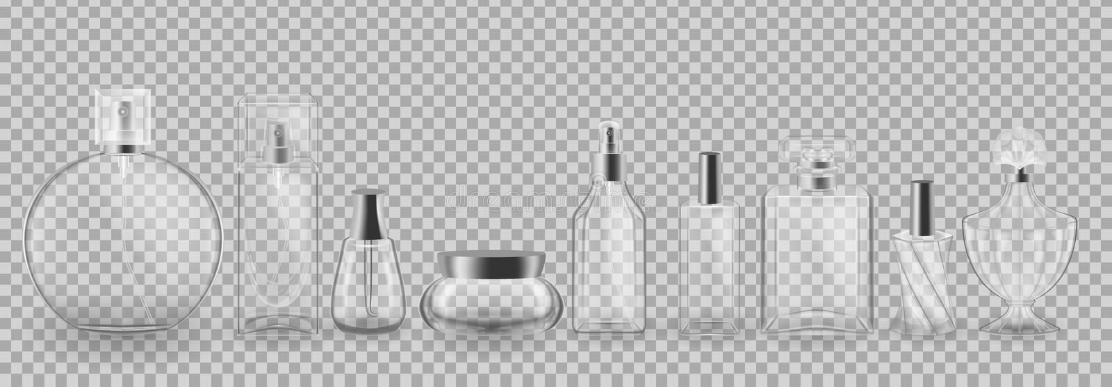 Set, collection of glass cosmetic packages. Realistic mock-up, templates. Set, collection of glass cosmetic packages. Realistic mock-up, templates, transparent vector illustration