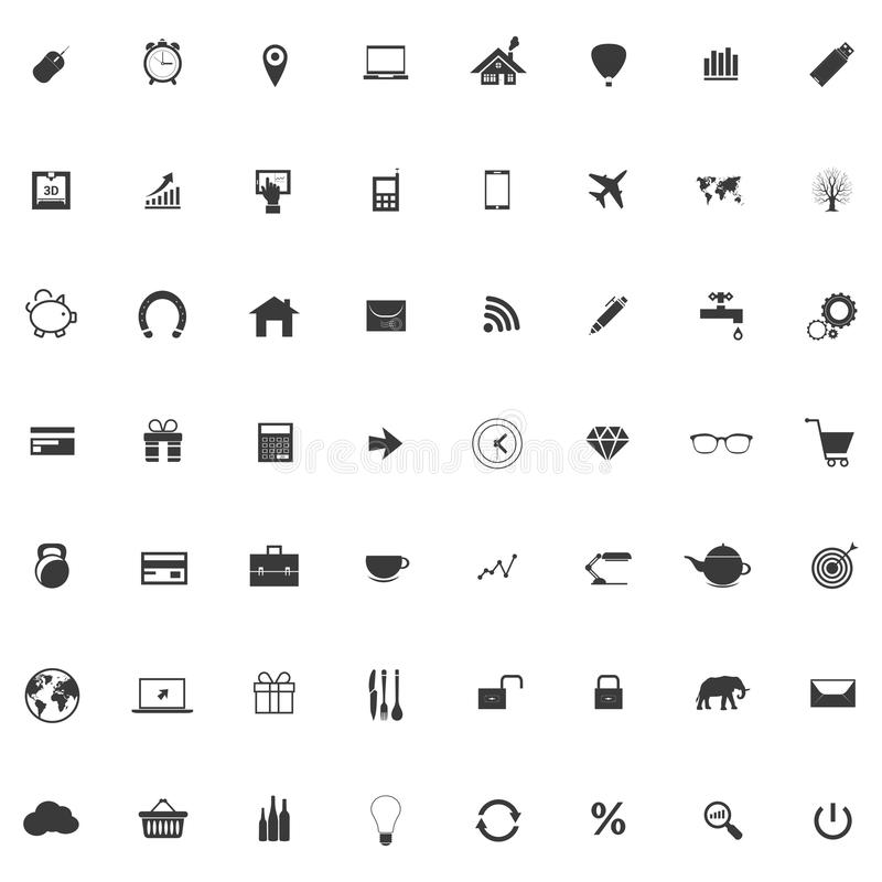 Set or collection of icons for web design. Set of icons with mouse and alarm clock, gps pointer, notebook or laptop, house and balloon, bar and linear graph,3d stock illustration