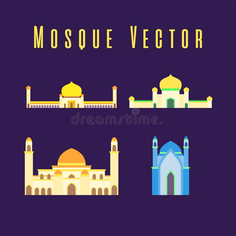 Set or collection of islamic mosque isolated flat design with pastel colorful,vector illustration mosque for ramadan kareem and royalty free stock image