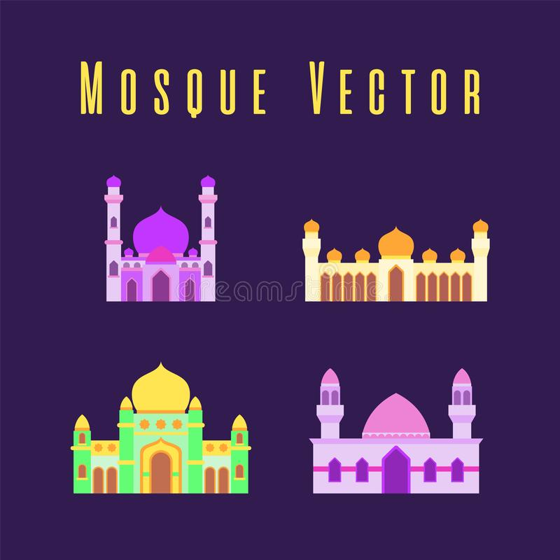 Set or collection of islamic mosque isolated flat design with pastel colorful,vector illustration mosque for ramadan kareem and stock image