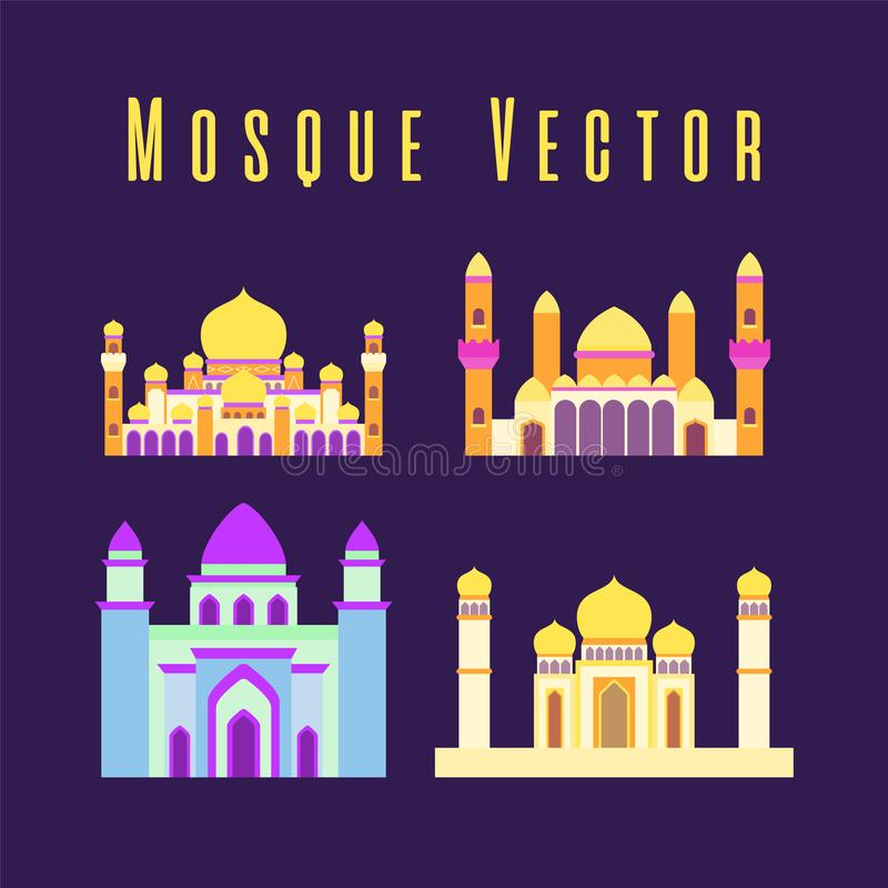 Set or collection of islamic mosque isolated flat design with pastel colorful,vector illustration mosque for ramadan kareem and stock photo