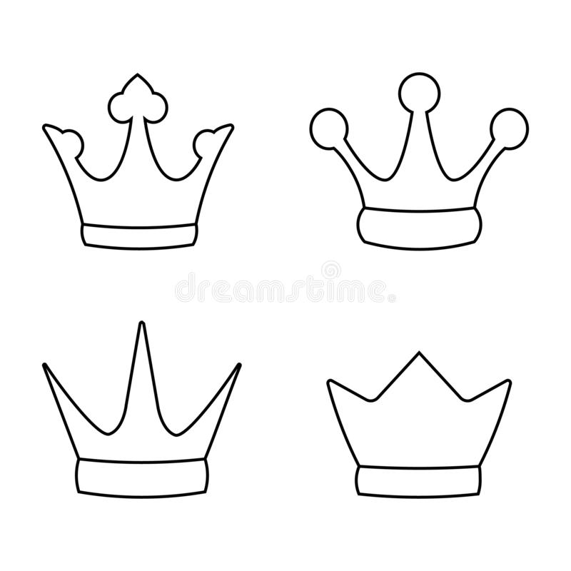 Set collection line icon crown king logo vector illustration