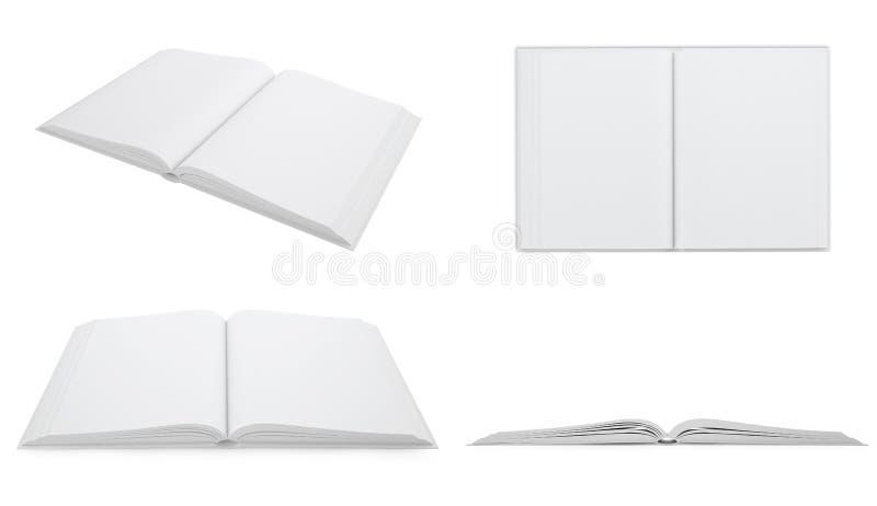 Set, collection open white blank book. 3d illustration stock illustration