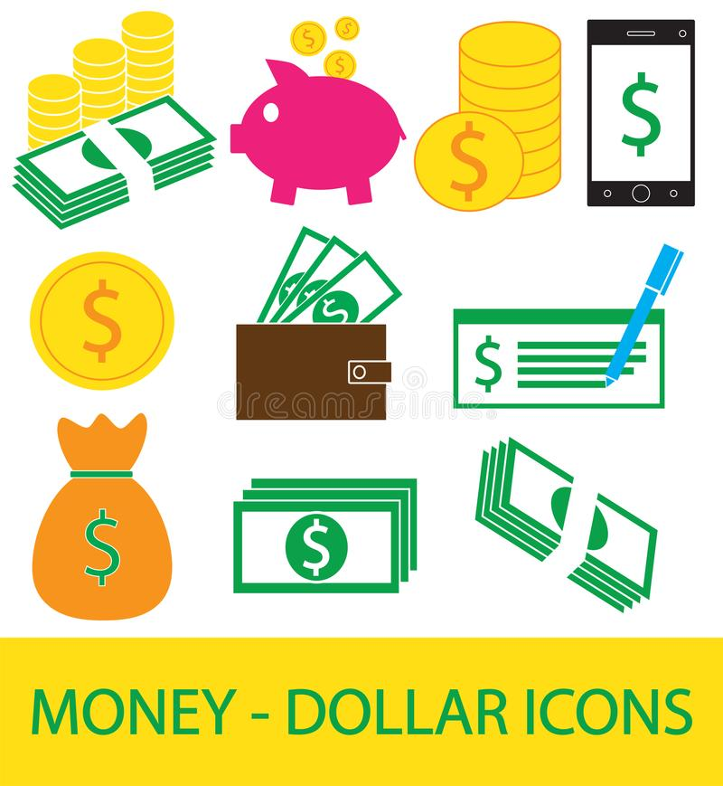 Set, collection or pack of Dollar currency icon or logo . vector illustration