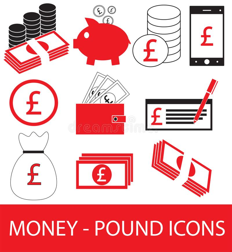 Set Collection Or Pack Of Pound Currency Icon Or Logo Stock