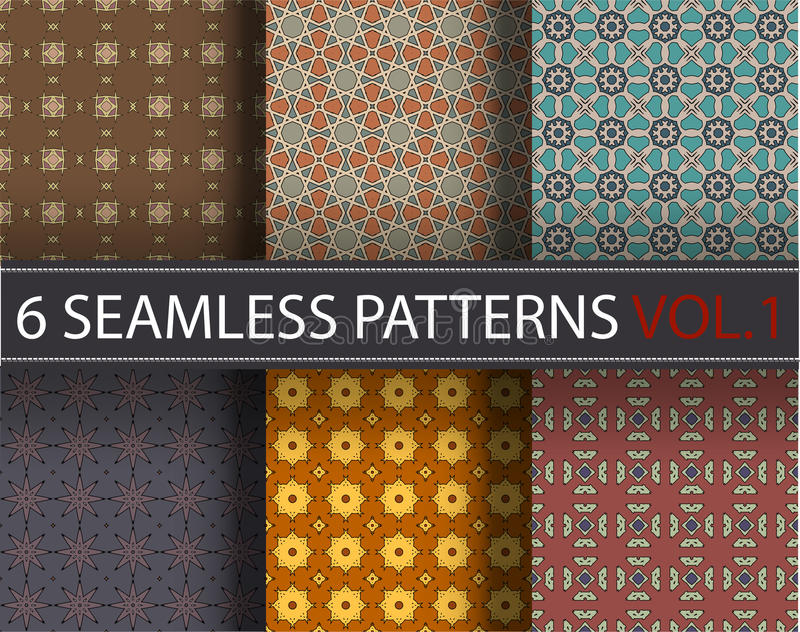 Set, collection, pack universal vector seamless patterns, tiling. Geometric ornaments. vector illustration