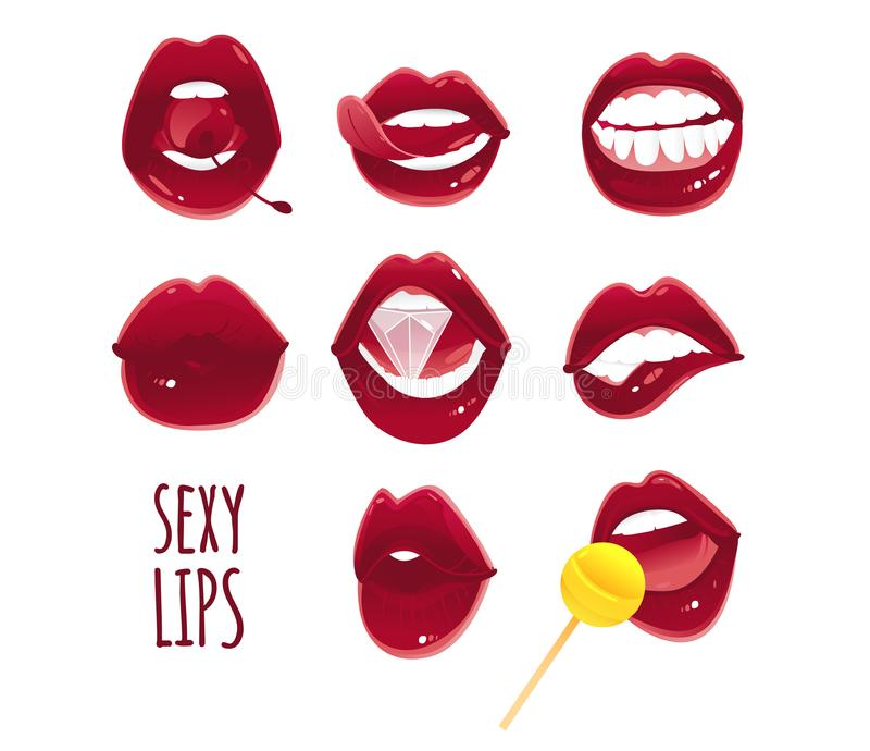 Set, collection of pop art red female lips stock illustration
