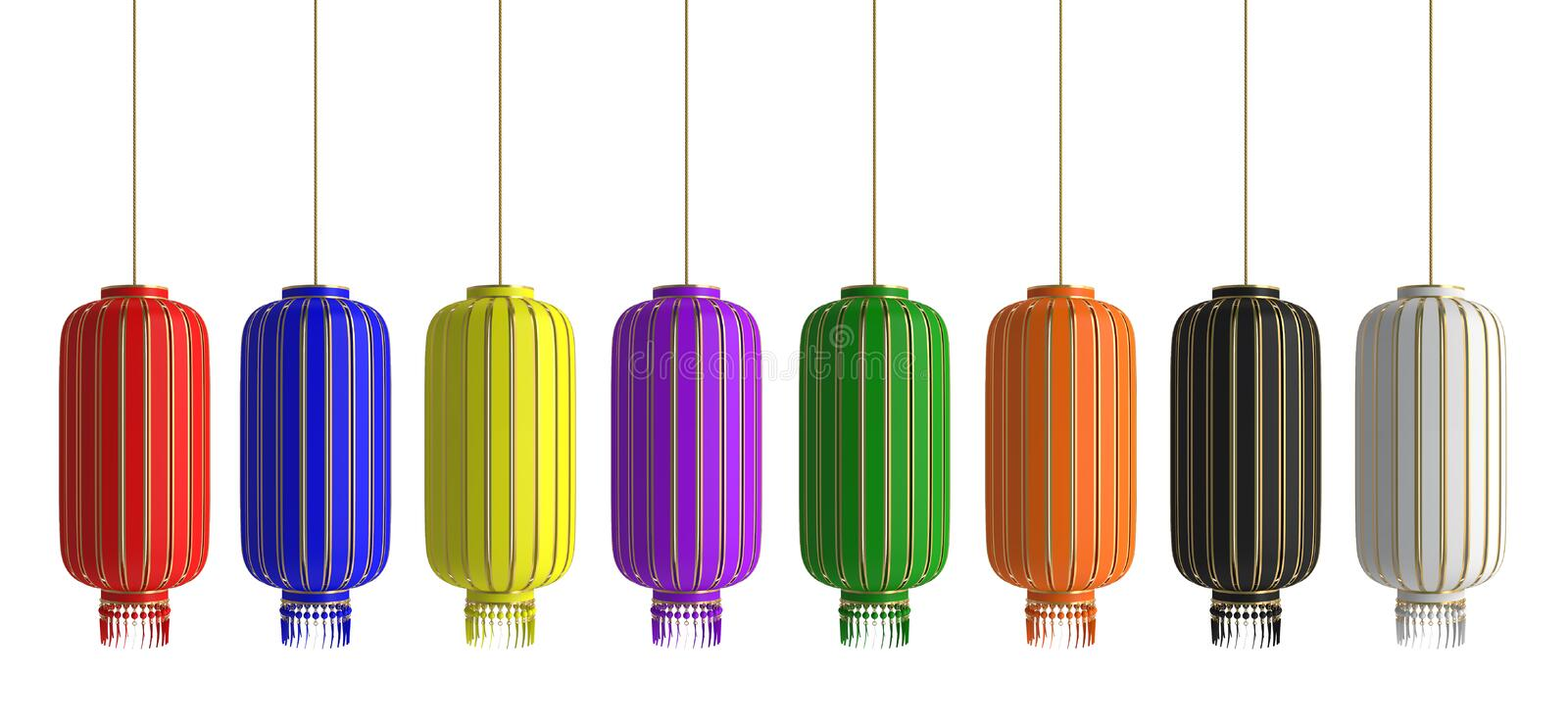 Set collection of various red green yellow blue violet orange black white chinese lantern lampion isolate on white background. stock image