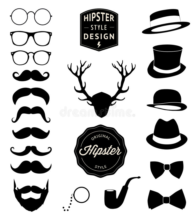 Set of collection vintage fashion elements. vector illustration. Set of Vintage styled design Hipster icons. Vector illustration