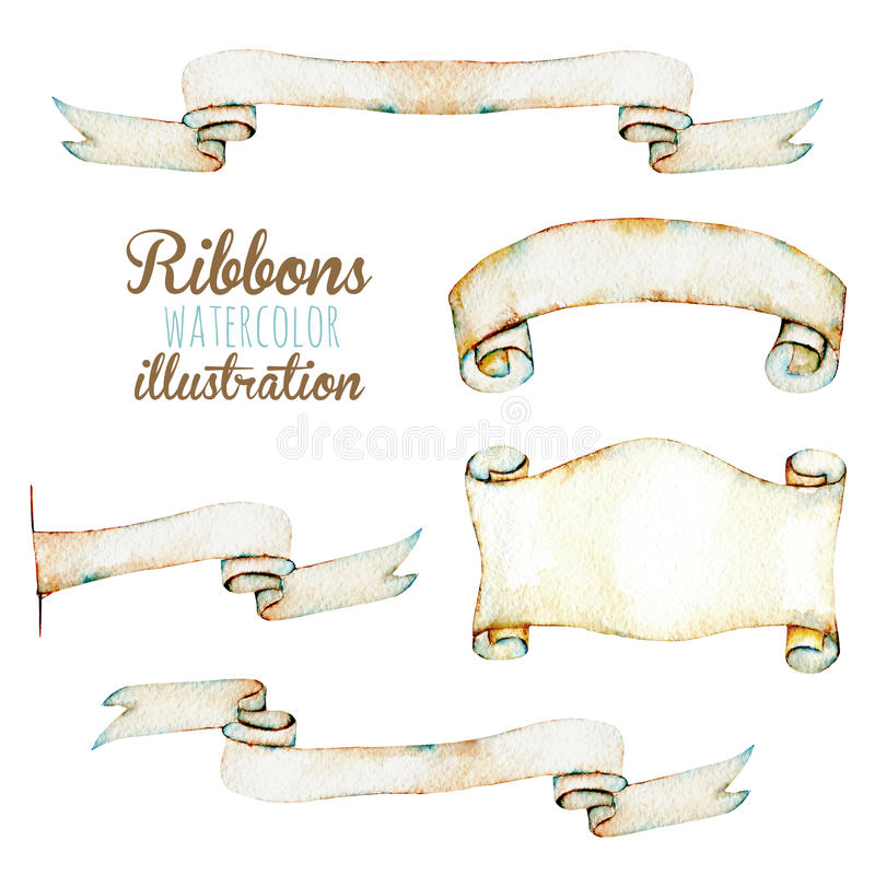 Set, collection of watercolor paper vintage ribbons royalty free illustration